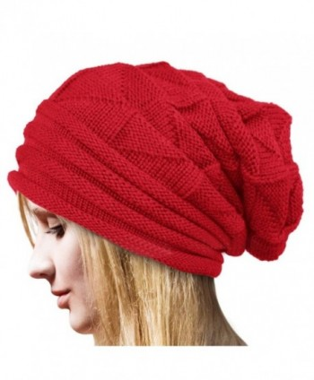 Ankola Hot Sale Womens Ladies Winter Crochet Hat Wool Knit Beanie Warm Ski Caps - Red/Lined Wool - CO1896GQSZ8