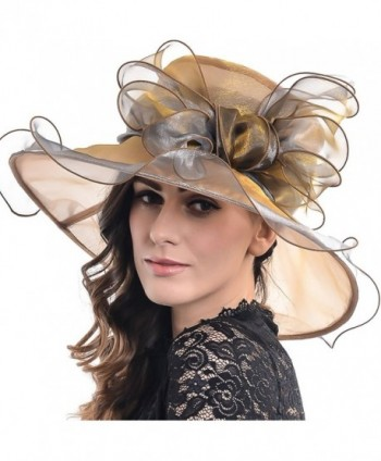 FORBUSITE Women's Organza Church Derby Bridal Cap Tea Party Wedding Hat S039-2 - Champagne With Grey - CO17YC0XHD5
