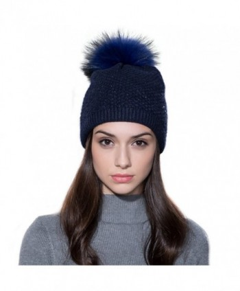 Ferand Ladies Raccoon Knitted Crystal - Navy Blue & Navy Blue Pom Pom - C912NU6M3FG