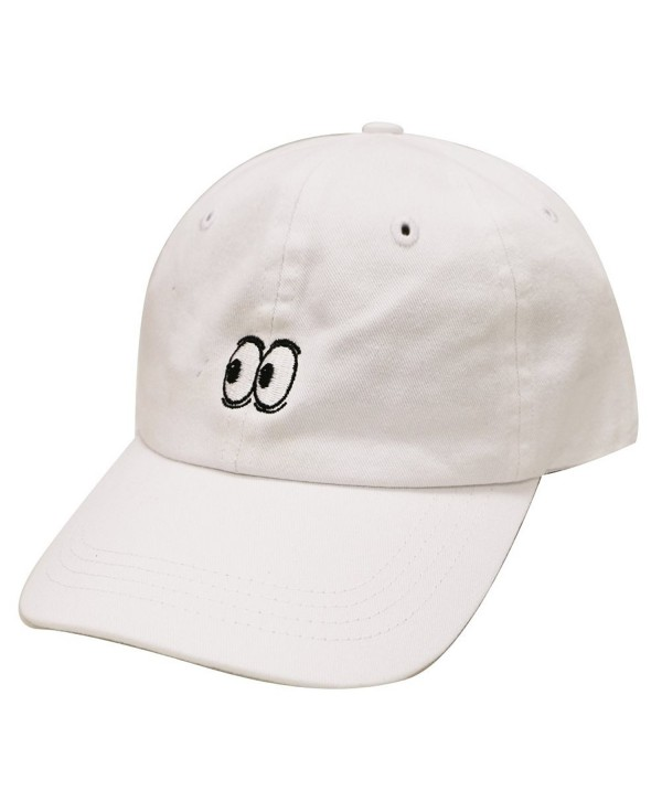 City Hunter C104 Eyes Small Embroidery Cotton Baseball Cap 11 Colors - White - CR12HVFX8K7