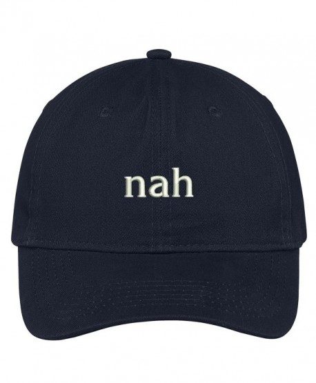 Trendy Apparel Shop Nah Embroidered Brushed Cotton Dad Hat Cap - Navy -  CY17YHQK43N 31dfd9fa0f47