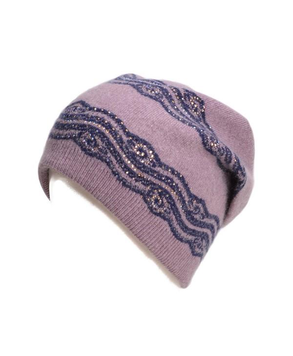Lawliet Womens Wool Crochet Rhinestone Beanie Beret Warm Winter Lace Trim Hat T269 - Purple - CD1867DLCRO