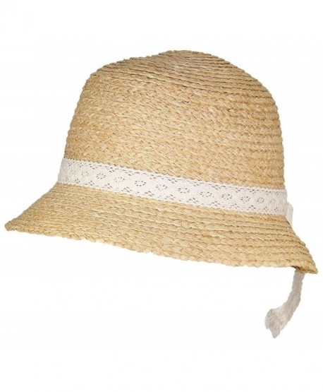 0ff92947 Victoria Natural Raffia Straw Womens Cloche Hat W/Lace Band (One Size) -