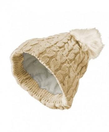 Women's Thick POM-POM Knit Slouchy Baggy Beanie Winter Hat Ski - Beige - CP188OMZ4YA