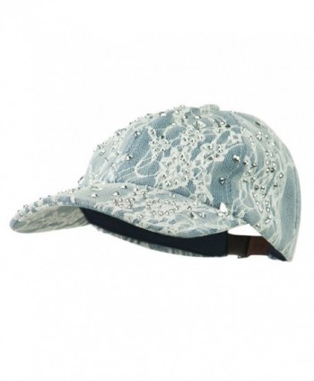 Rhinestone and Lace Baseball Cap - Blue - C511VLHM4JX