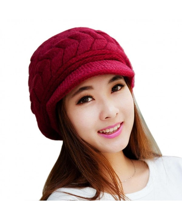 Orangesky Women Skullies Beanies Knitted Hats (Red) - Red - CI1299G1MLX