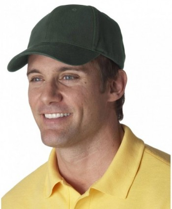 UltraClub mens Classic Cut Brushed Cotton Twill Constructed Cap(8110) - Forest Green - CZ11F78FINB