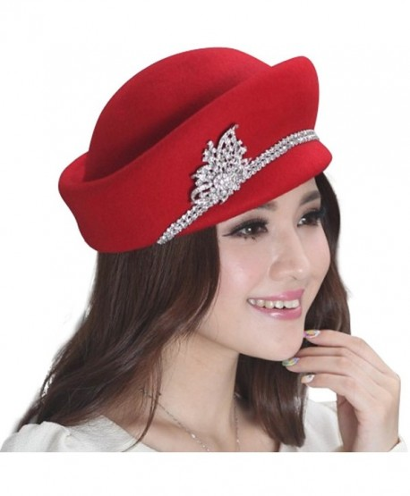 June s Young Wool Felt Hats for Women Winter Hat Small Brim Red -  CQ11HO31ER1 1db4793a123