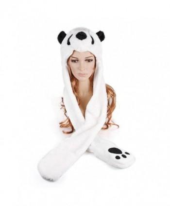 TopTie Faux Fur Cute Animal Ears Hat- Mittens Scarf Hood - Panda Hat - Panda - CO11PI1F64X