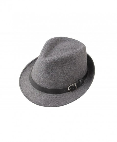091e2e7be36a5 Dantiya Men's Formal Triby Fedora Hat Caps with Belts - Grey - CC11AAOW85V