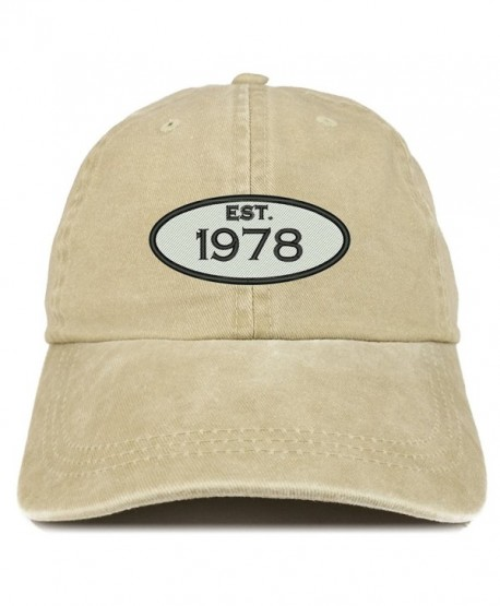 f623aaf4706 Trendy Apparel Shop Established 1978 Embroidered 40th Birthday Gift Pigment  Dyed Washed Cotton Cap - Khaki