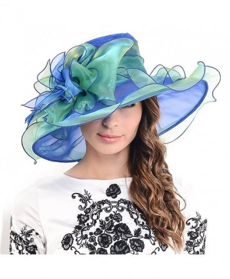 1c5072fa F&N STORY Ladies Kentucky Derby Church Hat Wide Brim Leaf Flower Bridal  Dress Hat s037 -