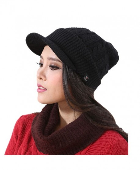 Connectyle Women s Warm Bill Winter Hats Slouchy Cable Knitted Beanie Cap  with Visor - Black - c3e89c0c557