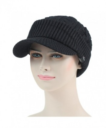 Women s Warm Bill Winter Hats Slouchy Cable Knitted Beanie Cap with ... 741587e062c