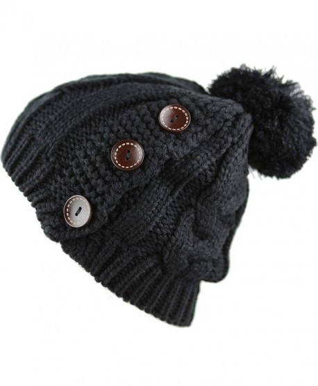 The Hat Depot 1000CMH-Women's Knit Beanie with Buttons and Pom Pom Winter Hat - Black2 - C4186L95HI0