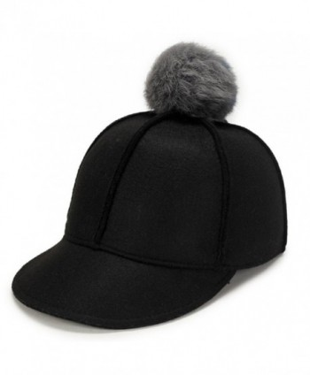 Top Cheer Women Solid Color Wool Felt Peaked Pom Pom Equestrian Baseball cap - Black - CE188KYA8K6