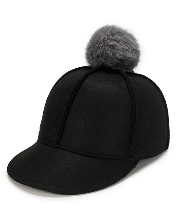 Top Cheer Women Solid Color Wool Felt Peaked Pom Pom Equestrian Baseball cap - Black - CE188KYA8K6
