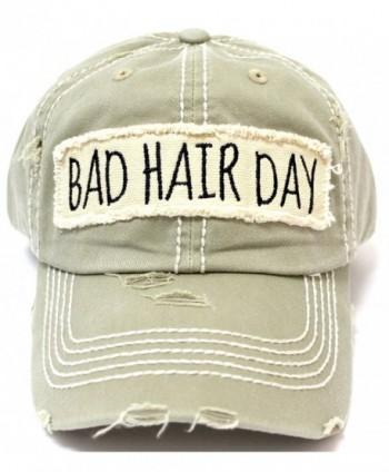 """New! Khaki """"BAD HAIR DAY"""" Embroidery Patch Baseball Cap - C618235046R"""