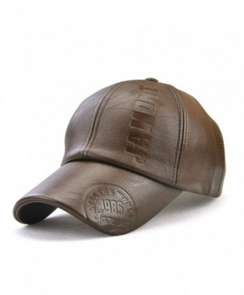 King Star Men Vintage PU Leather Baseball Cap Windproof Warm Hats Adjustable Hat - Light Brown - CL187E2KTXU