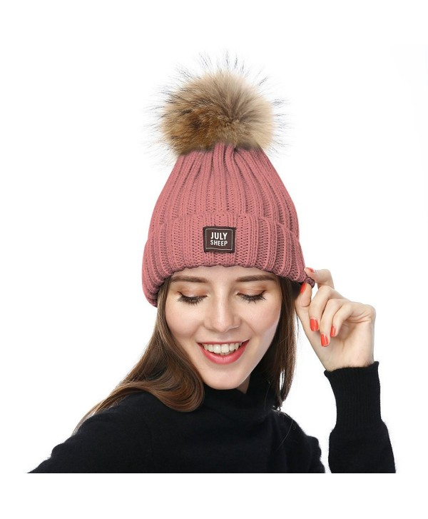 63d9576bd Womens Girls Winter Knitted Beanie Hat Real Large Raccoon Fur Pom Pom  Bobble Hats - Pink - C3183NAK44Z