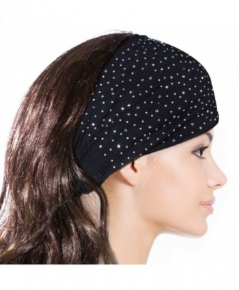 Sparkling Rhinestone and Dots Wide Elastic Headband - Black - Black - CE11CMTES2F