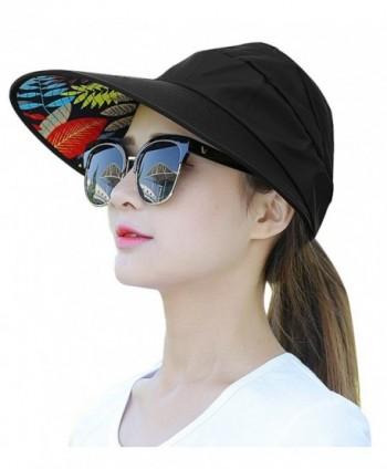 HindaWi Sun Hats For Women Wide Brim UV Protection Summer Beach Visor Cap - A-black - CZ1840X5508