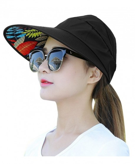 HindaWi Sun Hats For Women Wide Brim UV Protection Summer Beach Visor Cap -  A- a9820ecb771