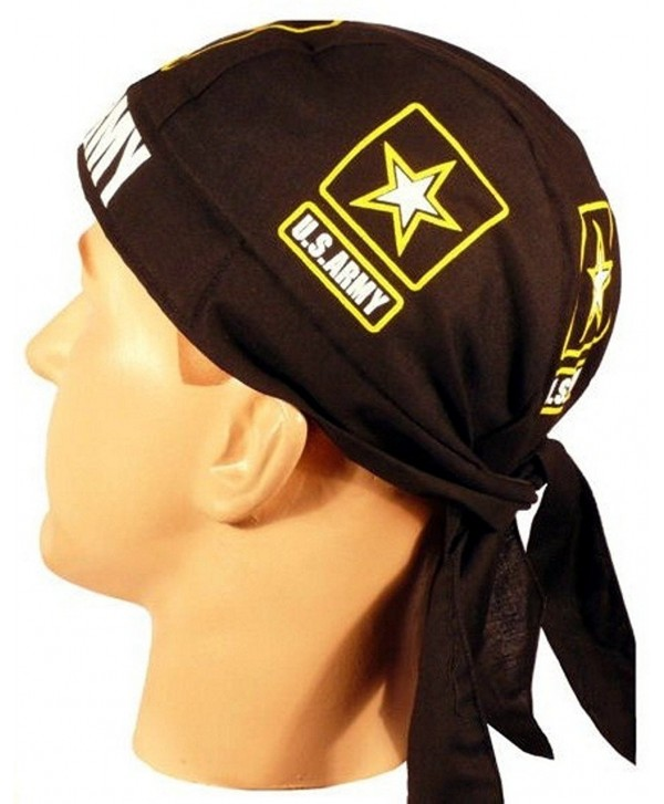 Skull Cap Biker Caps Headwraps Doo Rags - US Army on Black - CQ12ELHPFDL