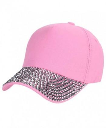 Ztl Glitter Rhinestone Baseball Cap Fashion Jeans Denim Cap Outdoor Sun Hat - Pink - CM184RO5NW4