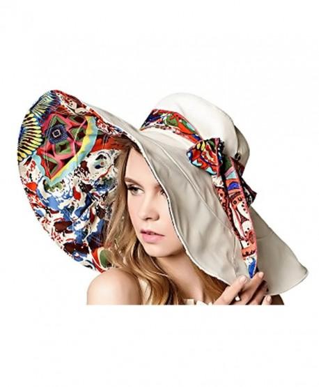 9b8fe27a4 Women's Large brimmed Summer Hat Foldable Garden Beach UV Protective Sun  Hat - Beige - CP124OJDK0V