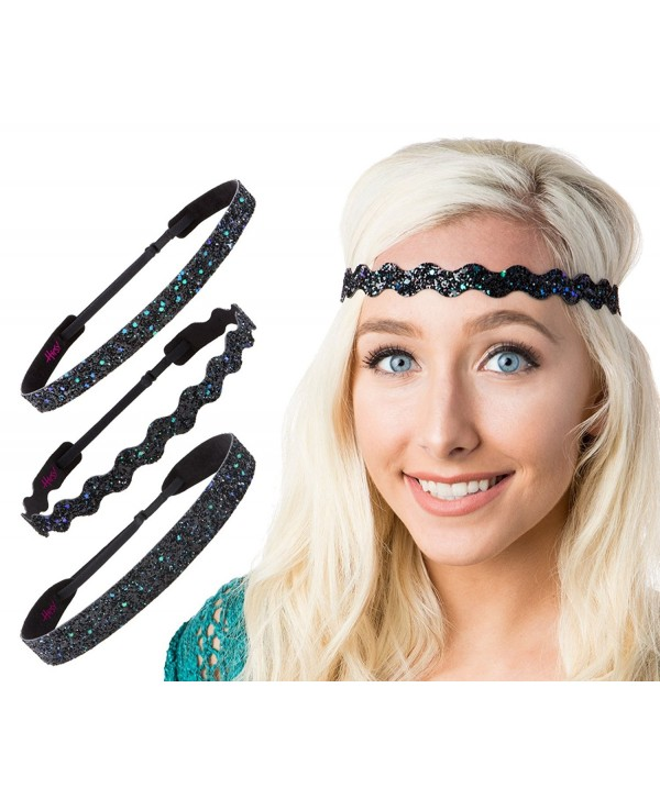 Hipsy Women's Adjustable NO SLIP Bling Glitter Headband Mixed 3pk - Mixed Peacock 3pk - CX12FUOYQCZ