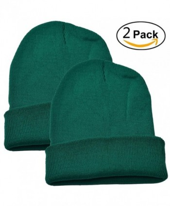 Woogwin 2 Pack Womens Knitted Beanie Cap Winter Warm Hats For Men Solid Color - Green - CI12NEVR1TL
