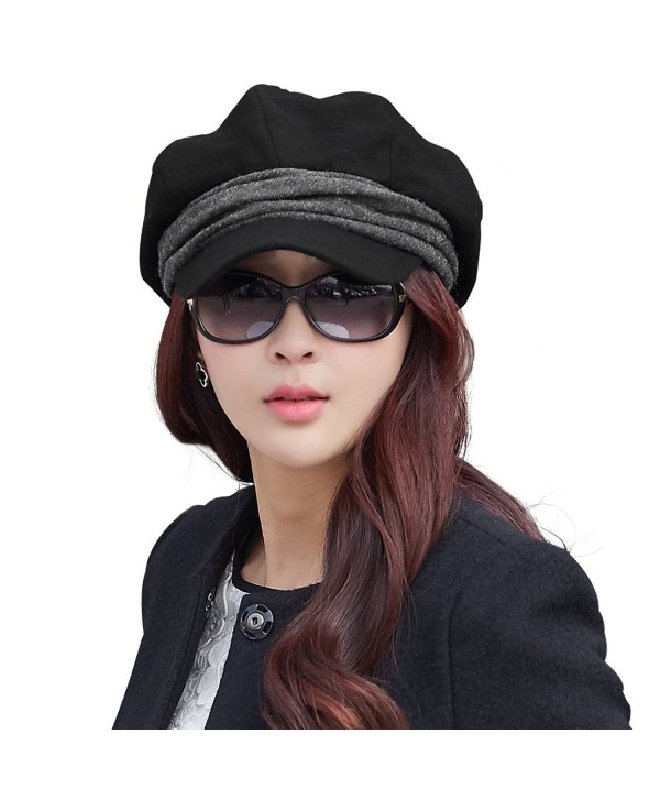 35bbf17d81cb0 SIGGI Wool newsboy Cabbie Beret Cap For Women Beret Visor Bill Hat -  69214 black - CG128KSFH2L