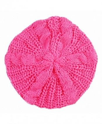 SUNYIK Beanie Hat-Winter Knit Slouchy Baggy Tam Skull Beret Cap - Fuchsia - CE11T05DTID
