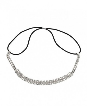 Lux Accessories Pave Crystal Bride Bridal Bridesmaid Wedding Stretch Headband - CD127ZWWML7
