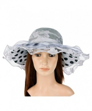 VBIGER Women's Kentucky Derby Hat Large Brim Chiffon Lace Flounce Sun Hats - Grey - CT12H9OBQ8B