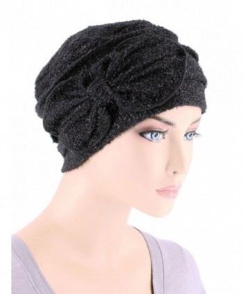 Turban Plus Womens Winter Hat Soft Fuzzy Eyelash Ribbed Flower Bow Cloche Beanie Cap - 02- Black Diamond - CZ12MYJKXZV