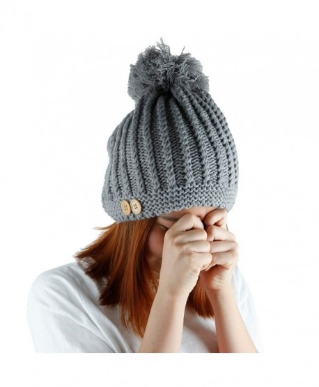 1f9ef95ca6aa8 Samtree Womens Beanie Hat With Pom-Thick Chunky Cable Winter Knit Hats -  Grey -