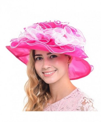Fanny Elegant Kentucky Church Wedding Derby Hat Large Floral Organza Summer Hat S019-MT - Hot Pink - C912CXBIBFL
