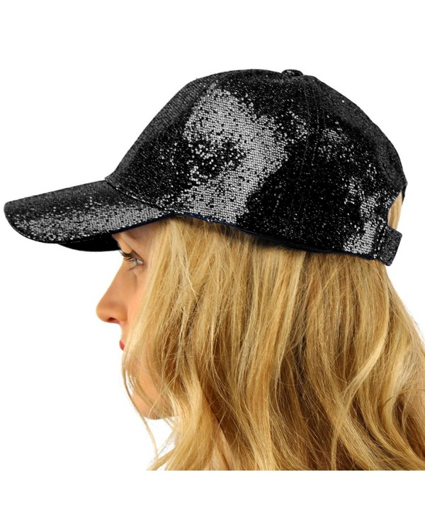Everyday Glitter Dance Party Bling Liquid Baseball Sun Visor Ball Cap Hat - Black - CG17X3KZL39