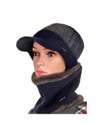 Winter Knit Peaked Cap Scarf Set Chunky Flat Hat Stripe Unisex Skull Cap Ski Cap - Blue - C81872U8C0Z