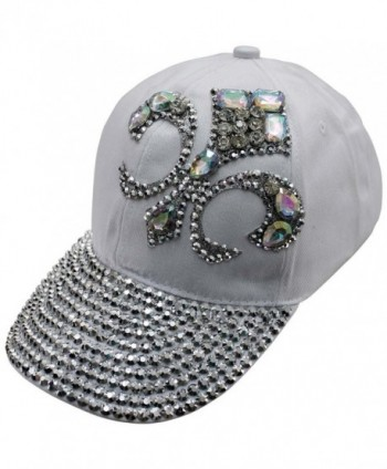 Luxury Divas Baseball Cap With Rhinestone Fleur De Lis - White - C011V1PYU4R