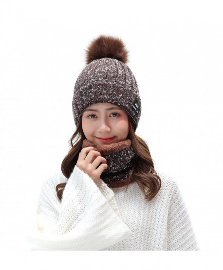 IRELIA Womens/Mens Faux Fur Warm Knitted Pom Fleece Lined Caps Beanie Scarf Set - 2 in 1(brown) - CN187E4502T