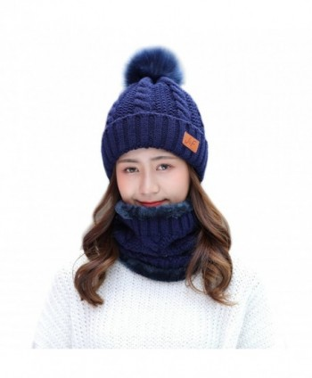 IRELIA Womens/Mens Faux Fur Knitted Pom Fleece Lined Caps Beanie Scarf Set - 2 in 1(blue) - CC187DYAONM