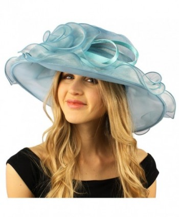 Darling Flower Satin Swirl Party Ruffle Derby Bucket Floppy Organza Hat - Mint - C412DQJZ675