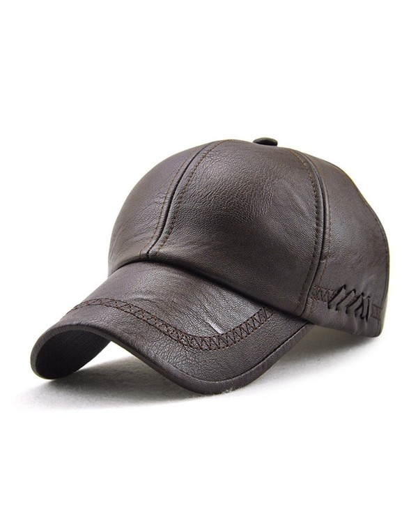 Melii Black Leather Baseball Cap Hat Adjustabel Black - Dark Brown - CG187Q8NE7X