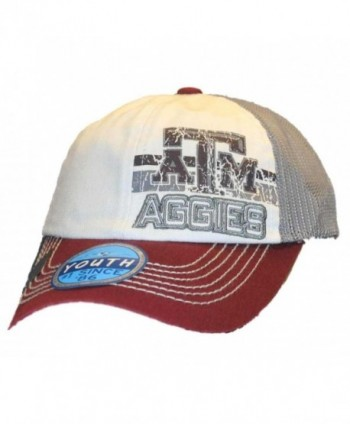 Texas A&M Aggies Top of the World Youth Maroon Gray Mesh Snapback Hat Cap - CP11NNQXM2D