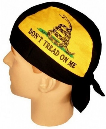 Skull Cap Biker Caps Headwraps Doo Rags - Don't Tread on Me - Yellow & Black - CH12ELHMUO3