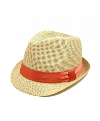 f251d368222505 TrendsBlue Classic Natural Fedora Straw Hat with Coral Color Band -  C811076FXL5