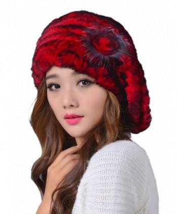 LITHER Women's Winter Rex Rabbit Fur Beret Hat With Fur Flower - Red - CE12NR6NBHJ